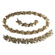 Trifari 1950s Vintage Leaf and Berry Necklace and Bracelet Set