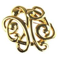 Goldtone Ribbon Swirl Knot Vintage Brooch