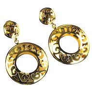 Large Cutout Hoop Clip Earrings