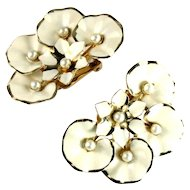 White Enamel Flowers Fan Vintage Earrings