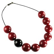 Italian Murano Glass Bead Red Black Necklace