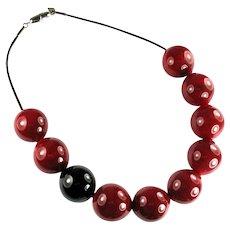 Italian Murano Glass Bead Red Black Necklace