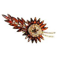 DeLizza and Elster Juliana AB Crystal Topaz Rhinestone Starburst Brooch