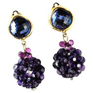Designer Huge Purple Dangle Earrings