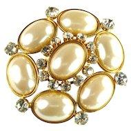 Les Bernard Glass Pearl Cabochon Vintage Brooch