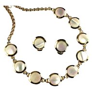 Mother of Pearl Disks Necklace and Earrings
