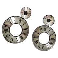 Huge Clock Face Vintage Hoop Earrings