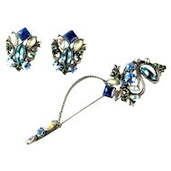Florenza Vintage Large Hat Pin and Earrings Set