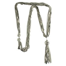 Silvertone Mixed Chains Tassel Necklace