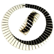 Black and White Enamel Vintage Collar Necklace and Bracelet