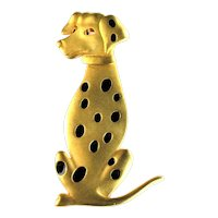 Vintage Dalmatian Dog Figural Articulated Brooch