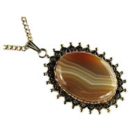 Brown Banded Agate Vintage Pendant Necklace