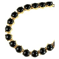 Monet Black Cabochon Vintage Necklace