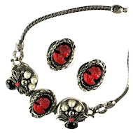 Selro Red Black Cameo Vintage Necklace and Earrings