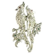 Pave Crystal Rhinestone Cockatoo Bird Brooch