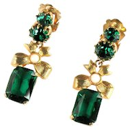 Emerald Green Rhinestone Bow Dangle Earrings