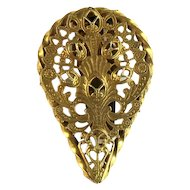 Filigree Teardrop Shaped Goldtone Dress Clip