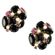 Black Pink Rhinestone Faux Pearl Oval Earrings