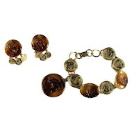 Florenza Glass Intaglio Cameo Coin Charm Bracelet and Earrings Set