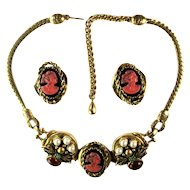 Selro Rose Black Cameo Amber Glass Cabochon Faux Pearl Necklace and Earrings Set