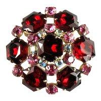 Red Hexagon Rose Chaton Rhinestone Dome Brooch