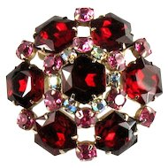 Red Hexagon Rose Chaton Rhinestone Dome Brooch