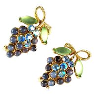 Florenza Vintage Purple Green Cabochon AB Rhinestone Grape Earrings