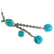 Selro Aqua Turquoise Colored Disks Chain Long Pendant Necklace