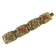 Selro Red Ballotini Imitation Pearl Lion Rampant Flip Bracelet