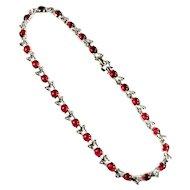 Mazer Brothers Ruby Red Cabochon Crystal Rhinestone Bracelet