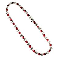 Mazer Brothers Ruby Red Cabochon Crystal Rhinestone Bracelet