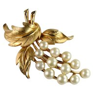 Trifari Vintage Goldtone Imitation Pearl Fruit and Leaves Brooch
