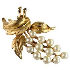 Trifari Vintage Goldtone Imitation Pearl Fruit and Leaves Brooch