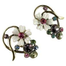 Selro Vintage White Flower Pastel Pink Lilac Yellow Blue Green Rhinestone Large Earrings