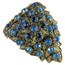 Little Nemo Vintage Blue Rhinestone Dress Clip