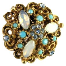 Florenza Vintage Shades of Blue Turquoise Opal Miniature Pin