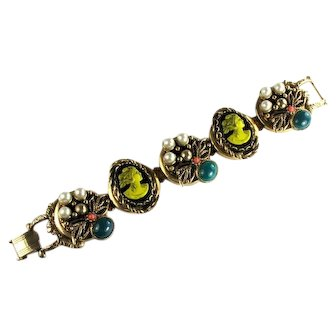 Selro Yellow Black Cameo Green Coral Pearl Colored Cabochon Vintage Bracelet