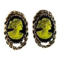 Selro Yellow Black Cameo Vintage Cufflinks