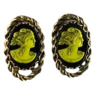 Selro Yellow Black Cameo Vintage Cufflinks