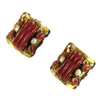 Selro Carnelian Red Colored Cabochon Imitation Pearl Earrings