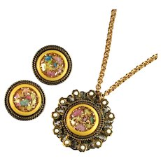 Vintage Yellow Glitter Disk Goldtone Pendant Necklace and Earrings by Selro