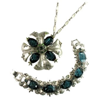 Florenza Vintage Cloud Stones Aqua White Green Rhinestone Bracelet Pendant Necklace Convertible to Pin