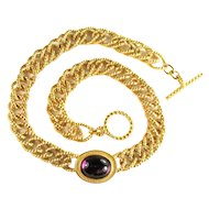 Monet Textured Wide Chain Amethyst Colored Cabochon Vintage Necklace