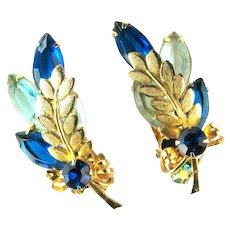 Juliana Blue Rhinestone Goldtone Metal Leaf Earrings by DeLizza and Elster