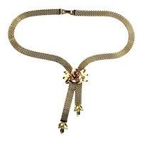 Krementz Rose Motif Chain Slide Goldtone Vintage Necklace