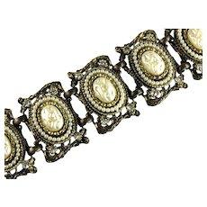 Vintage Mobe Faux Pearl Rhinestone Large Bracelet