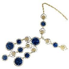 Blue Filigree Goldtone Disks Vintage Pendant Necklace
