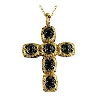 Large Black Cabochon Goldtone Vintage Cross Pendant Necklace