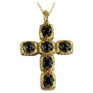 Large Black Cabochon Goldtone Vintage Cross Pendant Necklace