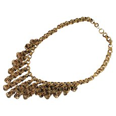 Brass Textured Chain Chainmail Choker Vintage Necklace